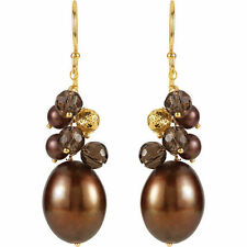Freshwater Dyed Chocolate Cultured Pearls & Smoky Quartz Gems 14K. Gold Earrings