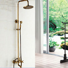 """Antique Brass 8""""Rain Shower Faucet Set Tub Mixer Tap With Hand Shower Wall Mount"""