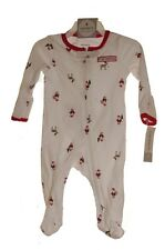 Carters Baby Nb Newborn My 1st First Christmas Santa Zip Footed Outfit Pj's New