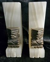 Bookends Aztec Art Hand Carved Two Tones of Marble