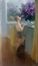 Original Oil Painting Impressionism Social Realism Genre Boy Floral Lilac