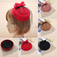 FASCINATOR BOWKNOT HAIRCLIP HAIR PILLBOX COCKTAIL PARTY HAT VEIL ACCESSORY ABLE