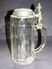 Antiker Bierkrug Glas 0,5 L Mit Zinndeckel
