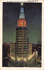 BUFFALO NEW YORK~ELECTRIC BUILDING AT NIGHT~POSTCARD 1930s