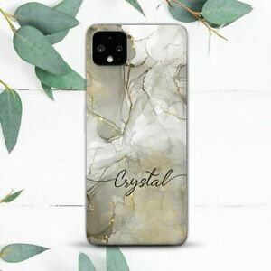 Custom Name Gold Grey Marble Case For Google Pixel 2 3 3a 4 4a 5 XL