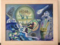 Still Life Original Oil Painting Blue Signed