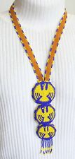 Leather Thunderbird Necklace 1970s vintage Fabulous Native Woven Glass Beads on