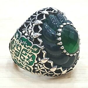 925 Sterling Silver Handmade Size:R Green Agate Stone Authentic Turkish Men Ring