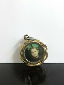 Antique Lovely Hand Colored Little Girl Photo Ornate Gold Plated Signed Pendant