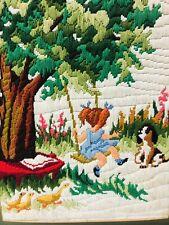 Vtg 1970s Crewel Needlepoint 18� x 14� Handmade Wall Hanging Picture Girl & Dog