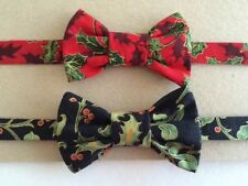 Christmas bow tie/ dickie bow/ Red Or Black Holly Design/ Free Postage