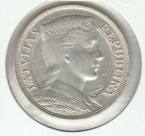 Lativa 1932 5 Lati Silver Crown Coin UNC