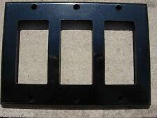 LEVITON 3-Gang ROCKER SWITCH PLATE Gloss Black Plastic with black-head bolts