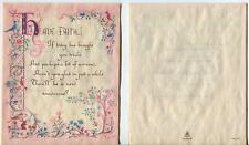 VINTAGE CHRISTIAN MOTTO BUNNY RABBIT BIRDS PINK COLORS HAVE FAITH SCRIPTURE CARD