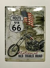 Route 66: National Old Trails Road - Tin Metal Wall Sign