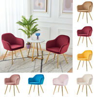 2Pcs Modern Velvet Dining Chairs Elegant Kitchen Armchair Mid Back Office Chair