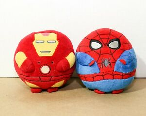 "TY Disney Marvel Beanie Baby Ballz SPIDER-MAN + IRONMAN 5"" Stuffed Plush"