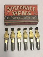 Box of Six Vintage Speedball B-0 Triple Reservoir Pen Tips Nibs