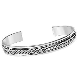 TreasureBay Mens 925 Stirling Silver Bangle Bracelet Cuff