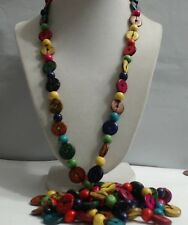 Vintage Rainbow Color Resin Button Bead Opera Length Necklace