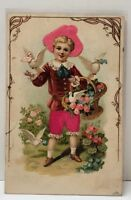 Victorian Greeting Silk Embellished Child with basket and Doves 1908 Postcard B7