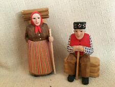 Wood Carving - Swiss - Brienz - Couple Figures - Very Fine