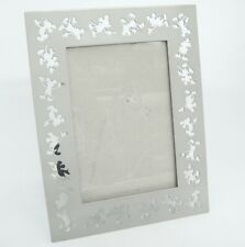 """Mickey Mouse Picture Frame Cut Out Silhouette Easel Silvertone for 4""""x6"""" Photo"""