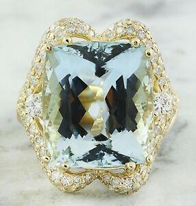 16.48 Carat Natural Aquamarine 14K Yellow Gold Diamond Ring