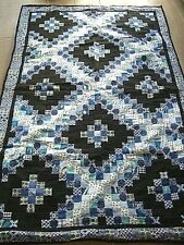 """Vintage Handmade Reversible Patchwork Quilted Single Bedspread Quilt throw76x50"""""""