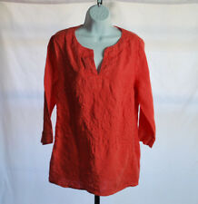 Tommy Bahama Coral 3/4 Sleeve Linen Pick Leaf Tunic Women's Sz L