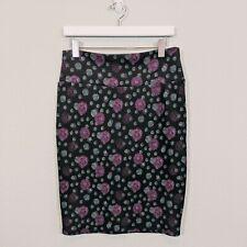 LulaRoe Cassie Pencil Skirt - Black with Burgundy & Teal Dots - Size Medium