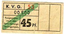 Biglietti KVG Kassel 45 Pfennig tram bus delle 60 GER anni ki2057