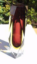 Alessandro Mandruzzato sommerso Murano à facettes rouge & ambre vase en verre