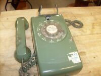 Vintage Phone Olive Green Wall Rotary Dial Western Electric Bell System - AS-IS