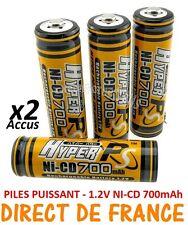 2 Piles AA 700mAh Rechargeable Mignon LR6 1.2V Ni-Cd  TRES PUISSANT - DE FRANCE