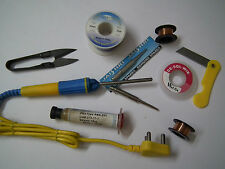 Replaceable Pencil Tip 25W Soldering Iron + Flux + Soldering Wire + De-Sold Wick