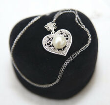 NEW 14ct White gold Cultured Pearl and Diamond pendant / Necklace RRP £475.00