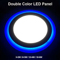 Dual Color LED Panel Lamp Round Recessed Ceiling Down Spot Lights AC85-265V B13