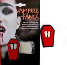 VAMPIRE DRACULA FANGS TEETH CAPS & PUTTY HALLOWEEN FANCY DRESS VAMP TEETH NEW