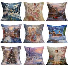 Home Decor Merry Christmas Linen Pillow Cases Bedroom Sofa Waist Cushion Cover