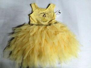 New Disney Toddler Girl's Princess Beauty & The Beast Belle Tutu Dress Yellow 2T