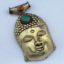 Buddha Head Turquoise  Silver Tone Pendant Tibetan Nepalese Handmade UP1174