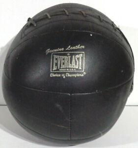 Vintage Everlast 8 lb Genuine Leather Medicine Ball Black Choice of Champions