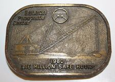 Vintage Estech Phosphate Center 1980 One Million Safety Hours Award Belt Buckle