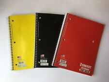 3 Subject Notebook- Wide Ruled - 120 sheets- Assorted Colors- Set of 3 Notebooks