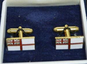 Royal Navy White Ensign flag enamel cufflinks  - boxed