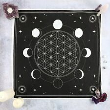 Altar Cloth Moon Phase Crystal Grid 70x70cm Black Wicca Witchcraft Star Gothic