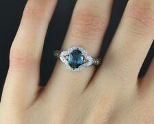 Levian 14k Oro Blanco Topacio Azul CHOCOLATE VAINILLA Anillo Con Diamante Banda