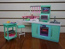 Barbie-Size Dollhouse Furniture- Cooking Corner Kitchen Set By Huaheng Toys New