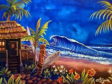 Blue Hula Bar Surf Spot Surfing Tiki Hula Hawaiian Kitsch CBjork PRINT